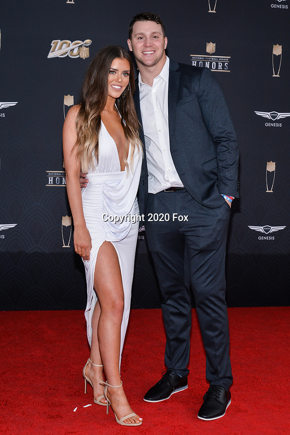 MIAMI, FL - FEBRUARY 1: Josh Allen and Brittany Williams attend the 2020 NFL Honors at the Ziff Ballet Opera House during Super Bowl LIV week on February 1, 2020 in Miami, Florida. (Photo by Anthony Behar/Fox Sports/PictureGroup)