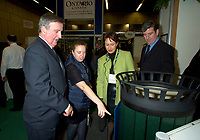 Montreal, march 28 , 2001 File Photo<br />  Montreal Mayor ;Pierre Bourque (L) visit the innovation booth at Americana 2001 conference and trade show on environmental technologies and waste management march 28, 2001 in Montreal, CANADA.<br /> <br /> Bourque is currentlyrunning for reelection against former Quebec Minister Gerald Tremblay<br /> <br /> Photo by Pierre Roussel / Alpha-Presse<br /> NOTE :  D-1 Uncorrected JPEG opened with QUIMAGE profile, saved in Adobe 1998 RGB color spaceMontreal (Qc) CANADA - File Photo -