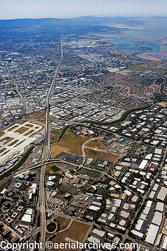 Bayshore Freeway, Highway 101, San Jose, San Jose airport, Mountain View, San Clara county, California