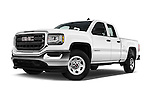 Stock pictures of low aggressive front three quarter view of 2017 GMC Sierra-1500 Double-Cab 4 Door Pickup Low Aggressive