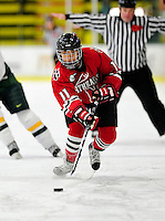 30 October 2009: Northeastern University Huskies' forward Rachel Llanes, a Freshman from San Jose, CA, in action against the University of Vermont Catamounts at Gutterson Fieldhouse in Burlington, Vermont. The Catamounts were shut out by the visiting Huskies 3-0. Mandatory Credit: Ed Wolfstein Photo