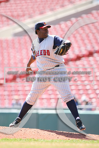 April 14th, 2008:  Pitcher Anastacio Martinez (46) of the Toledo Mudhens, Class-AAA affiliate of the Detroit Tigers, during a game at Dunn Tire Park in Buffalo, NY.  Photo by:  Mike Janes/Four Seam Images