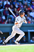 South Carolina Gamecocks designated hitter Noah Campbell (2) swings at a pitch during a game against the Clemson Tigers at Fluor Field on March 3, 2018 in Greenville, South Carolina. The Tigers defeated the Gamecocks 5-1. (Tony Farlow/Four Seam Images)