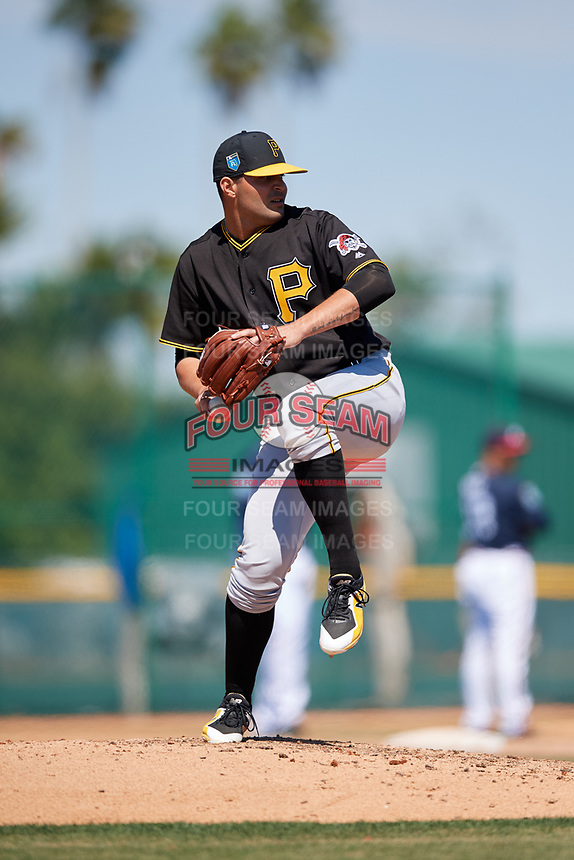 Pittsburgh Pirates pitcher Hector Quinones (91) during a minor league Spring Training game against the Atlanta Braves on March 13, 2018 at Pirate City in Bradenton, Florida.  (Mike Janes/Four Seam Images)