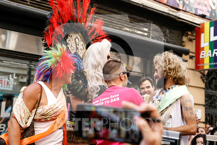 Winner, second and third classified of the heels race of the lgtb pride party of Madrid and drag queen Chumina Power. July 4, 2019. (ALTERPHOTOS/JOHANA HERNANDEZ)