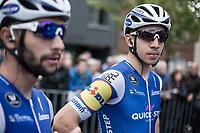 Alvaro Hodeg (COL/Quick Step Floors) on the side of teammate Fernando Gaviria pre race. <br /> <br /> 102nd Kampioenschap van Vlaanderen 2017 (UCI 1.1)<br /> Koolskamp - Koolskamp (192km)