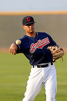 Yonathan Mendoza #7 of the AZL Indians before a game against the AZL Giants at the Cleveland Indians Training Complex on July 11, 2013 in Goodyear, Arizona. AZL Giants defeated the AZL Indians, 19-3. (Larry Goren/Four Seam Images)