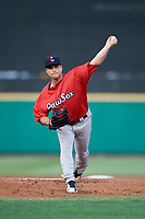 Pawtucket Red Sox starting pitcher Jalen Beeks (21) delivers a pitch during a game against the Rochester Red Wings on July 4, 2018 at Frontier Field in Rochester, New York.  Pawtucket defeated Rochester 6-5.  (Mike Janes/Four Seam Images)
