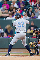 Johermyn Chavez (32) of the Wilmington Blue Rocks at bat against the Winston-Salem Dash at BB&T Ballpark on April 3, 2014 in Winston-Salem, North Carolina.  The Blue Rocks defeated the Dash 3-1.  (Brian Westerholt/Four Seam Images)