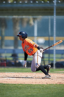 Baltimore Orioles second baseman Guillermo Salas (69) follows through on a swing during a minor league Spring Training game against the Boston Red Sox on March 16, 2017 at the Buck O'Neil Baseball Complex in Sarasota, Florida.  (Mike Janes/Four Seam Images)