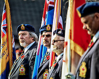 The colour guard looks on during the Oakville Remembrance Day Ceremonies in Oakville.