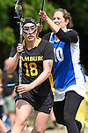 GER - Hannover, Germany, May 30: During the Women Lacrosse Playoffs 2015 match between Muenster Mohawks (blue) and HTHC Hamburg (black) on May 30, 2015 at Deutscher Hockey-Club Hannover e.V. in Hannover, Germany. Final score 9:20. (Photo by Dirk Markgraf / www.265-images.com) *** Local caption *** Antonia Grabe #18 of HTHC Hamburg, Judith van Oepen #10 of Muenster Mohawks