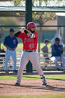 Los Angeles Angels catcher Julian Leon (36) during a Minor League Spring Training game against the Chicago Cubs at Sloan Park on March 20, 2018 in Mesa, Arizona. (Zachary Lucy/Four Seam Images)