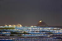 Tillamook Rock Lighthouse with storm clouds. Oregon