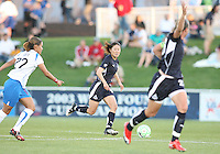 Abby Wambach #20 of the Washington Freedom signals for the ball from Homare Sawa #10 during a WPS match against the Boston Breakers at the Maryland Soccerplex, in Boyd's, Maryland, on April 18 2009. Breakers won the match 3-1.