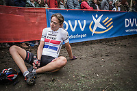 exhausted Helen Wyman (GBR/Xypex/verge sport) after finishing 8th place. <br /> <br /> <br /> women's race.<br /> Koppenbergcross Belgium 2018