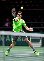 Februari 10, 2015, Netherlands, Rotterdam, Ahoy, ABN AMRO World Tennis Tournament, Milos Raonic (CAN)<br /> Photo: Tennisimages/Henk Koster