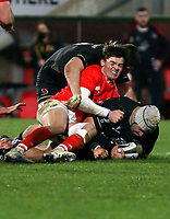 12 December 2020; Gareth Milasinovich of Ulster is tackled by Jake Flannery of Munster during the A series inter-pros series 20-21 between Ulster A and Munster A at Kingspan Stadium, Ravenhill Park, Belfast, Northern Ireland. Photo by John Dickson/Dicksondigital