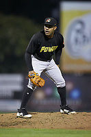 West Virginia Power relief pitcher Elvis Escobar (44) looks to his catcher for the sign against the Los Rapidos de Kannapolis at Kannapolis Intimidators Stadium on July 25, 2018 in Kannapolis, North Carolina. The Los Rapidos defeated the Power 8-7 in game two of a double-header. (Brian Westerholt/Four Seam Images)