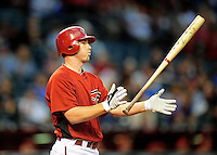 Apr. 2, 2010; Phoenix, AZ, USA; Arizona Diamondbacks shortstop Stephen Drew tosses his bat against the Chicago Cubs at Chase Field. Mandatory Credit: Mark J. Rebilas-
