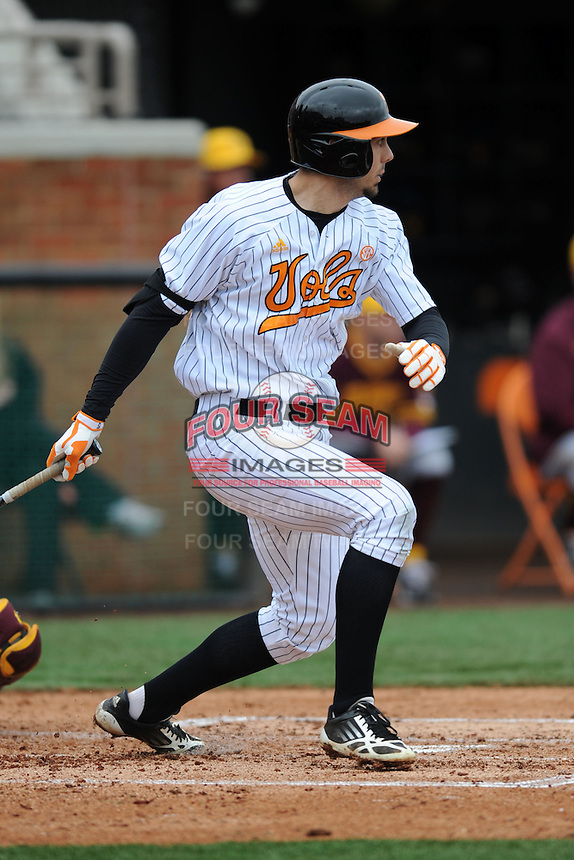 Tennessee Volunteers first baseman Scott Price #5 swings at a pitch during a game against  the Arizona State Sun Devils at Lindsey Nelson Stadium on February 23, 2013 in Knoxville, Tennessee. The Volunteers won 11-2.(Tony Farlow/Four Seam Images).