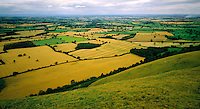 .The north Shropshire plain from The Lawley, near Church Stretton, showing the still-existing medieval field-pattern. Shsopshire, England..