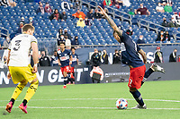FOXBOROUGH, MA - MAY 16: Gustavo Bou #7 of New England Revolution near the Columbus SC goal during a game between Columbus SC and New England Revolution at Gillette Stadium on May 16, 2021 in Foxborough, Massachusetts.