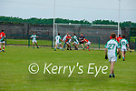Ballyduff's Paud Costello and Kevin Goulding under a high ball tussling with St Michaels Foilmore's Darragh Scanlon in the County Senior football league.