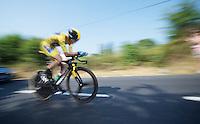 Chris Froome (GBR) speeding along<br /> <br /> Tour de France 2013<br /> stage 11: iTT Avranches - Mont Saint-Michel <br /> 33km