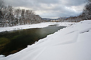 East Branch of the Pemigewasset River in Lincoln, New Hampshire USA after a snow storm