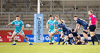 8th January 2021; AJ Bell Stadium, Salford, Lancashire, England; English Premiership Rugby, Sale Sharks versus Worcester Warriors;  Faf De Klerk of Sale Sharks passes the ball across the Worcester line