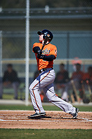 Baltimore Orioles Michael Katz (23) follows through on a swing during a minor league Spring Training game against the Minnesota Twins on March 17, 2017 at the Buck O'Neil Baseball Complex in Sarasota, Florida.  (Mike Janes/Four Seam Images)