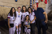 PASADENA, CA - AUGUST 4: Rose Lavelle #16 poses with the Gianni Infantino and his family during a game between Ireland and USWNT at Rose Bowl on August 3, 2019 in Pasadena, California.