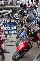 Kathmandu, Nepal.  Motor Cycle Pay Parking, Downtown Kathmandu.