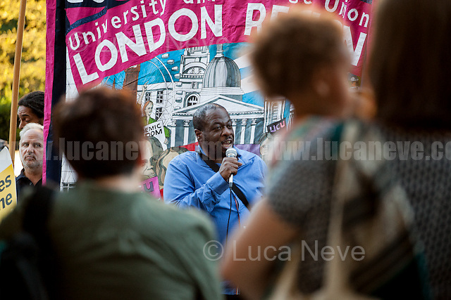 """Weyman Bennett (Unite Against Fascism and Stand Up To Racism joint secretary).<br /> <br /> London, 07/09/2016. Today, """"Stand Up To Racism"""" held an emergency demo outside the French Embassy in London to protest against the plan of the French Government to destroy the Calais 'Jungle' camp and to call for an immediate stop to the construction of a UK-funded wall (""""The government refused to confirm the cost of the wall, but reports suggest a £1.9m price tag"""" - Source: BBC online) near the camp which is planned to be 4m (13ft) high and it will run for 1km (0.6 miles) along both sides of the main road to Calais port. From the organiser Facebook event page:  <<The 'jungle' refugee camp faces destruction by the French government following the visit of Minister of Interior Bernard Cazeneuve and now a blockade starting on Monday by local businesses, truckers and dockers. The refugees have been attacked by the French and British governments and a hostile press. Rather than taking on their responsibilities to those escaping war and poverty both governments are scapegoating them. We want to show our solidarity with the refugees, oppose the destruction of the camp and demand that the UK government acts on the Dubs amendment to the Immigration Bill (allowing unaccompanied child refugees into Britain) now as a first step to offering the support and solidarity that is needed […]>>.<br /> <br /> For more information please click here: https://www.facebook.com/events/709215812549923/"""