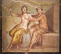 1 cent AD Roman Erotic  fresco depicting Mars and Venus  Pompeii (VI, 9, 2,) Casa die Meleagro, inv 9250, 1st century AD, Naples Archaological Museum , Italy
