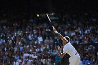 9th July 2021, Wimbledon, SW London, England; Wimbledon Tennis Championships, day 9;  Roger Federer (Sui)