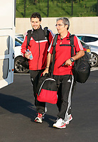 Wednesday 28 August 2013<br /> Pictured: Coaches at the Swansea training ground.<br /> Re: Swansea City FC players and staff en route for their UEFA Europa League, play off round, 2nd leg, against Petrolul Ploiesti in Romania.