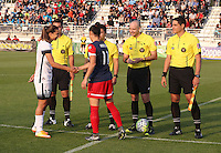 Boyds, MD - Saturday May 07, 2016: Portland Thorns FC midfielder Tobin Heath (17) and Washington Spirit defender Ali Krieger (11) before a regular season National Women's Soccer League (NWSL) match at Maureen Hendricks Field, Maryland SoccerPlex. Washington Spirit tied the Portland Thorns 0-0.