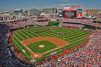 6 April 2015: A sellout crowd of 42,295 watch opening ceremonies as the US Flag is carried off the field prior to the Washington Nationals Season Opening Game against the New York Mets at Nationals Park in Washington, DC. The Mets rallied to defeat the Nationals 3-1 in their first meeting of the 2015 MLB season. Mandatory Credit: Ed Wolfstein Photo *** RAW (NEF) Image File Available ***