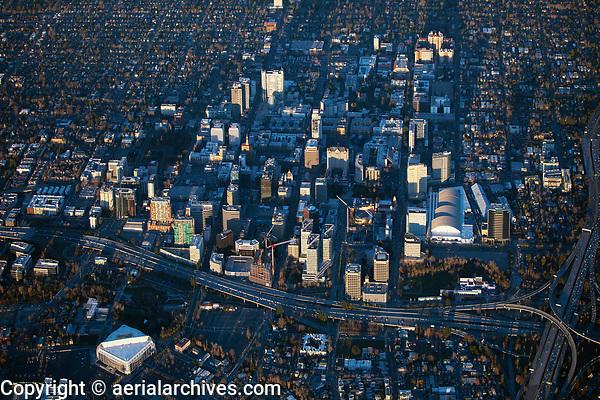 aerial photograph of San Jose at sunset, Santa Clara County, California