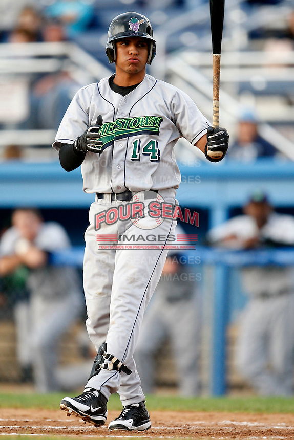 July 3, 2009:  Shortstop Jose Torres during a game at Dwyer Stadium in Batavia, NY.  The Jammers are the NY-Penn League Short-Season Class-A affiliate of the Florida Marlins.  Photo by:  Mike Janes/Four Seam Images