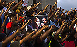 BATON ROUGE, LA -JULY 09:  Demonstrators gather after marching at the Louisiana Capitol to protest the shooting of Alton Sterling on July 9, 2016 in Baton Rouge, Louisiana. Alton Sterling was shot by a police officer in front of the Triple S Food Mart in Baton Rouge on July 5th, leading the Department of Justice to open a civil rights investigation. (Photo by Mark Wallheiser/Getty Images)