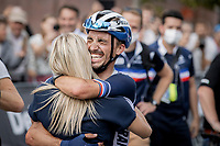 Julian Alaphilippe (FRA/Deceuninck-Quick Step) solo finishing and winning the World Championships for a second consecutive time. Celebrating victory with girlfriend Marion Rousse. <br /> <br /> Men Elite – Road Race (WC)<br /> Race from Antwerp to Leuven (268.3km)<br /> <br /> ©kramon