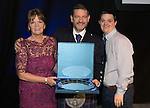 St Johnstone FC Hall of Fame Dinner, Perth Concert Hall….03.04.16<br />Chairman Steve Brown with Hall of Fame Inductee Drew Rutherford's widow Maragret and son Gary<br />Picture by Graeme Hart.<br />Copyright Perthshire Picture Agency<br />Tel: 01738 623350  Mobile: 07990 594431