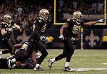 December 2009: New Orleans Saints linebacker Jonathan Vilma (51) celebrates during an NFL football game at the Louisiana Superdome in New Orleans.  The Buccaneers defeated the Saints 20-17.