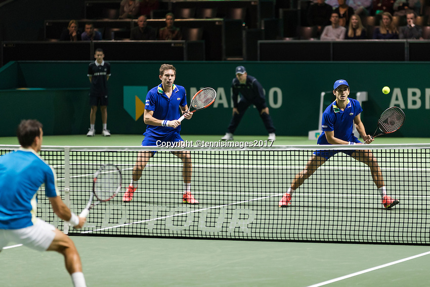 ABN AMRO World Tennis Tournament, Rotterdam, The Netherlands, 18 Februari, 2017, Nicolas Mahut (FRA), Pierre-Hugues Herbert (FRA), Ivan Dodig (CRO)<br /> Photo: Henk Koster