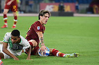 12th September 2021; Olimpico Stadium, Rome, Italy; Serie A championship football, AS Roma versus US Sassulo ; Nicolo Zaniolo of As Roma collects the bal after being fouled