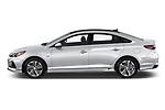 Car driver side profile view of a 2018 Hyundai Sonata Hybrid Limited 4 Door Sedan