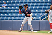 Lowell Spinners first baseman Trey Ganns (28) waits to receive a throw during a game against the Staten Island Yankees on August 22, 2018 at Richmond County Bank Ballpark in Staten Island, New York.  Staten Island defeated Lowell 10-4.  (Mike Janes/Four Seam Images)